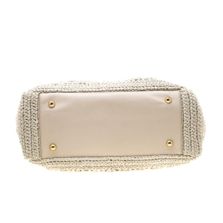 Dolce and Gabbana Off White Raffia Crochet Alma Tote For Sale 5