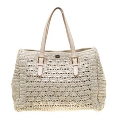 Dolce and Gabbana Off White Raffia Crochet Alma Tote