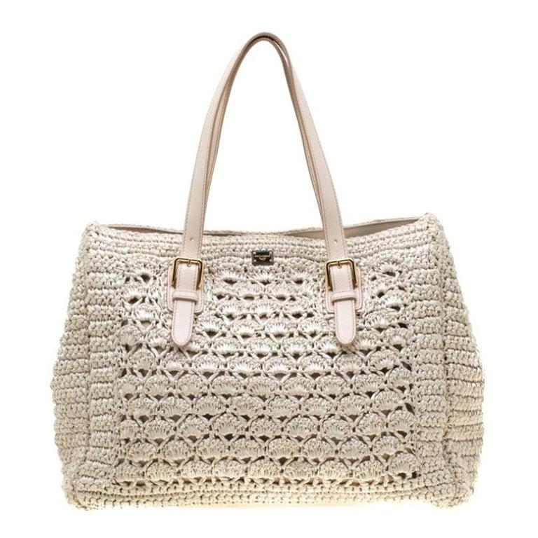 Dolce and Gabbana Off White Raffia Crochet Alma Tote For Sale