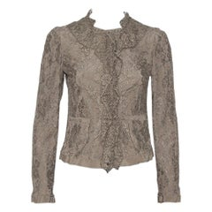 Dolce and Gabbana Olive Green Floral Lace Ruffle Trim Jacket S