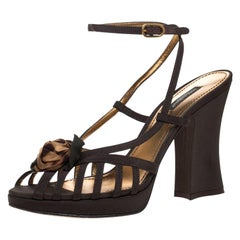 Dolce and Gabbana Olive Green Nylon Fabric Flower Detail Strappy Sandals Size 39