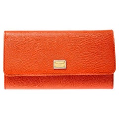 Dolce and Gabbana Orange Leather Dauphine Continental Wallet