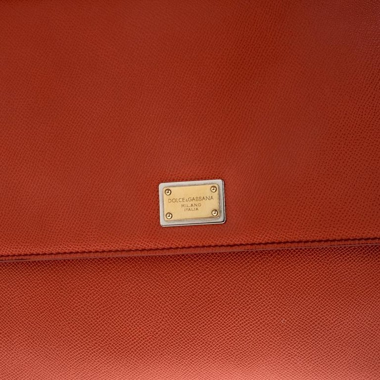 Dolce and Gabbana Orange Leather Large Miss Sicily Top Handle Bag For Sale 5