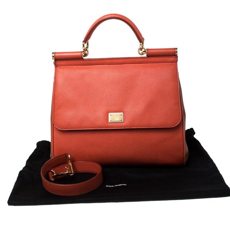 Dolce and Gabbana Orange Leather Large Miss Sicily Top Handle Bag For Sale 6