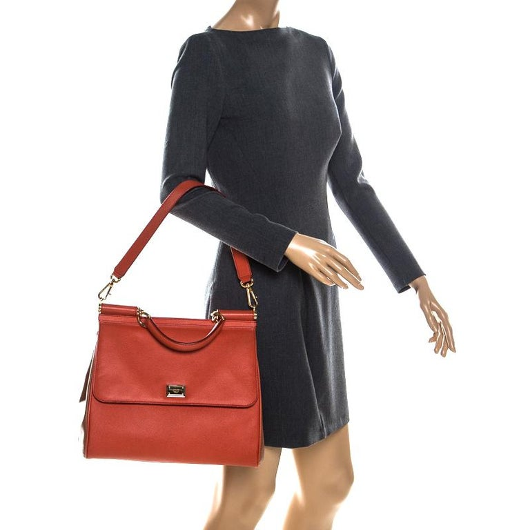 Red Dolce and Gabbana Orange Leather Large Miss Sicily Top Handle Bag For Sale