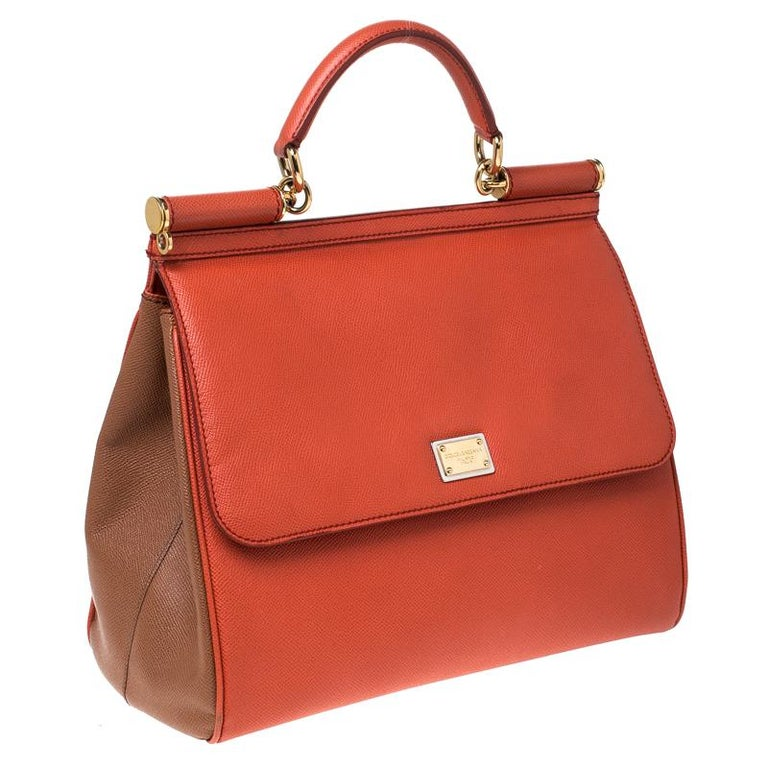 Dolce and Gabbana Orange Leather Large Miss Sicily Top Handle Bag In Good Condition For Sale In Dubai, Al Qouz 2