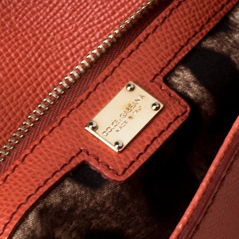 Dolce and Gabbana Orange Leather Large Miss Sicily Top Handle Bag For Sale 1