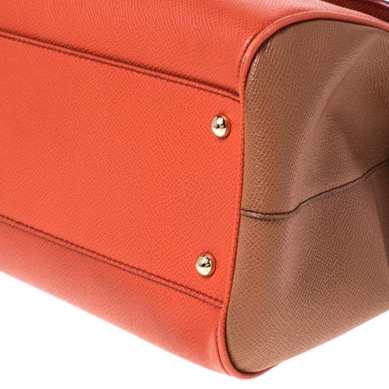 Dolce and Gabbana Orange Leather Large Miss Sicily Top Handle Bag For Sale 2