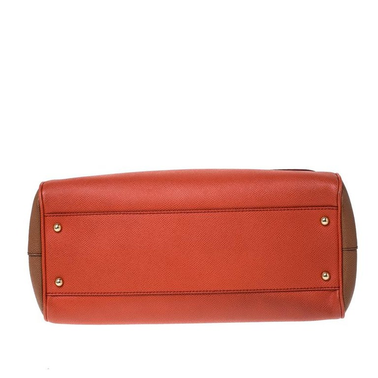 Dolce and Gabbana Orange Leather Large Miss Sicily Top Handle Bag For Sale 4