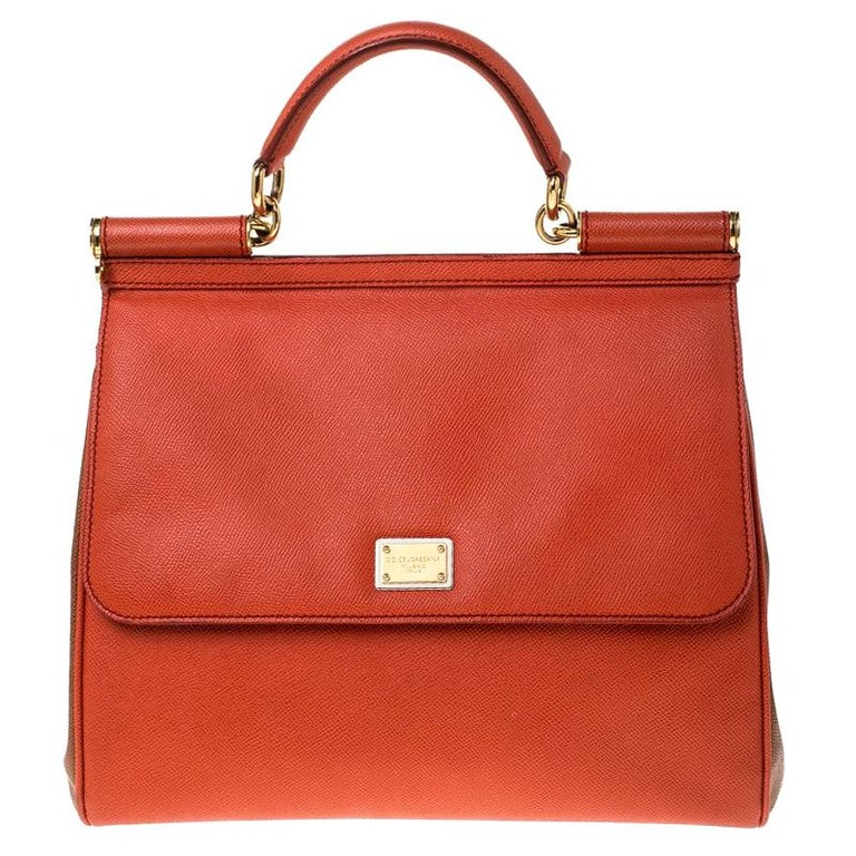Dolce and Gabbana Orange Leather Large Miss Sicily Top Handle Bag For Sale