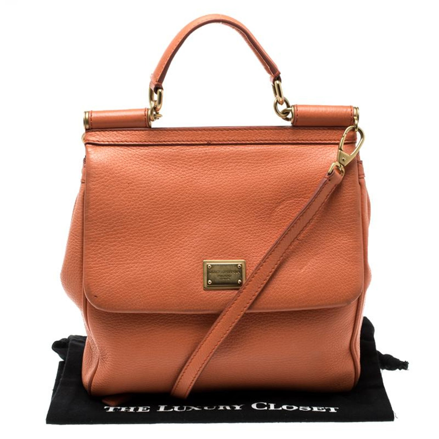 09e942dc7 Dolce and Gabbana Orange Leather Medium Miss Sicily Top Handle Bag For Sale  at 1stdibs