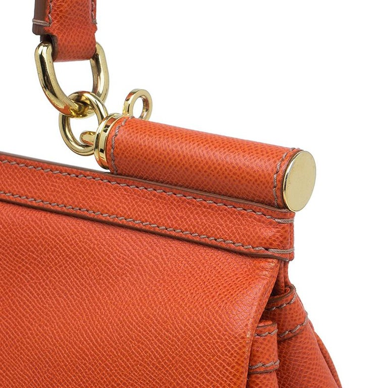 Dolce and Gabbana Orange Leather Medium Miss Sicily Tote For Sale 6