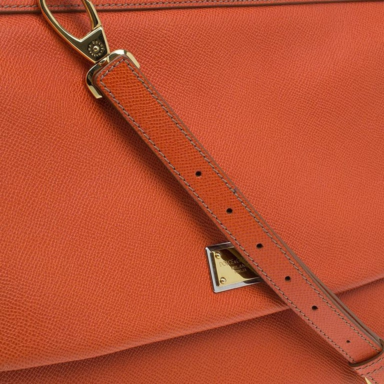 Dolce and Gabbana Orange Leather Medium Miss Sicily Tote For Sale 8