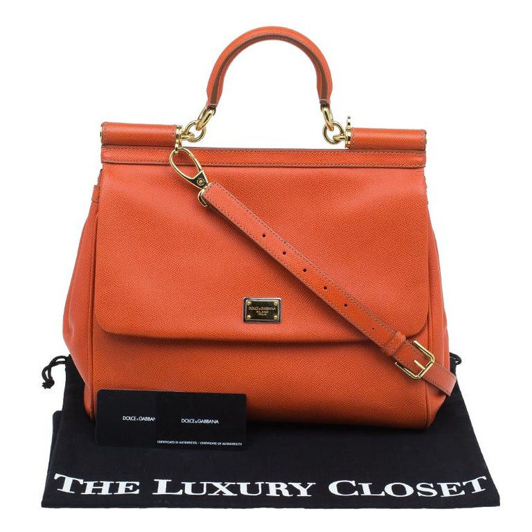 Dolce and Gabbana Orange Leather Medium Miss Sicily Tote For Sale 13