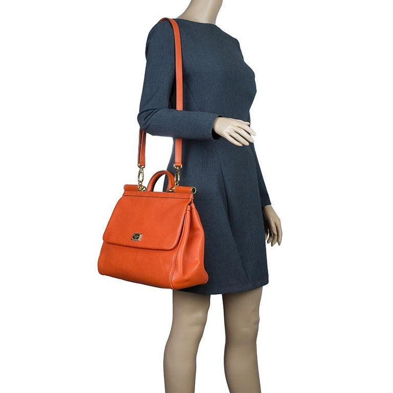 Dolce and Gabbana Orange Leather Medium Miss Sicily Tote In Good Condition For Sale In Dubai, Al Qouz 2