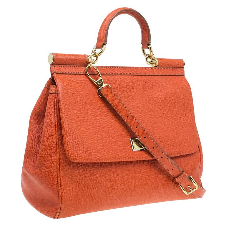 Women's Dolce and Gabbana Orange Leather Medium Miss Sicily Tote For Sale