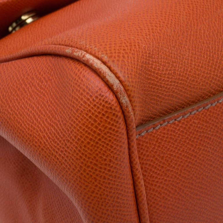 Dolce and Gabbana Orange Leather Medium Miss Sicily Tote For Sale 3
