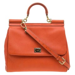 Dolce and Gabbana Orange Leather Medium Miss Sicily Tote