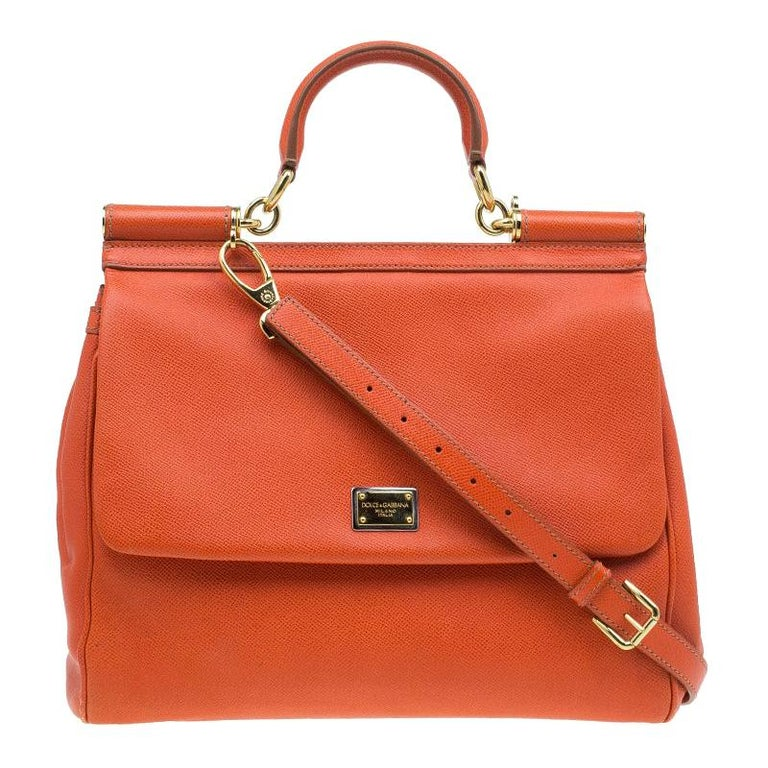 Dolce and Gabbana Orange Leather Medium Miss Sicily Tote For Sale