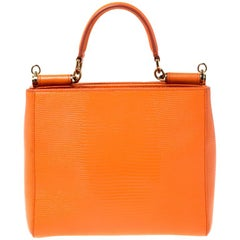 Dolce and Gabbana Orange Leather Miss Sicily Top Handle Bag
