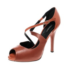 Dolce and Gabbana Orange Leather Peep Toe Strappy Sandals Size 40