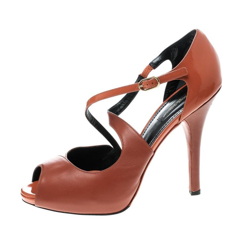 62a78a1a0e2 Dolce and Gabbana Orange Leather Peep Toe Strappy Sandals Size 40