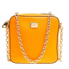 Dolce and Gabbana Orange Leather Square Miss Glam Crossbody Bag