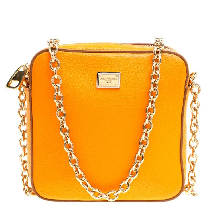 a081e19ef4 Dolce and Gabbana Orange Leather Square Miss Glam Crossbody Bag For ...