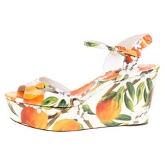 Dolce and Gabbana Orange Patent Leather Ankle Strap  Wedge Sandals Size 40.5
