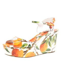 Dolce and Gabbana Orange Print Patent Leather Ankle Strap Platform Wedge Sandals