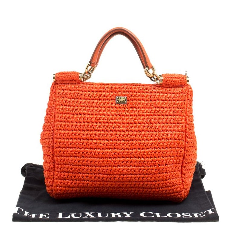 Dolce and Gabbana Orange Raffia Miss Sicily Top Handle Bag For Sale 7