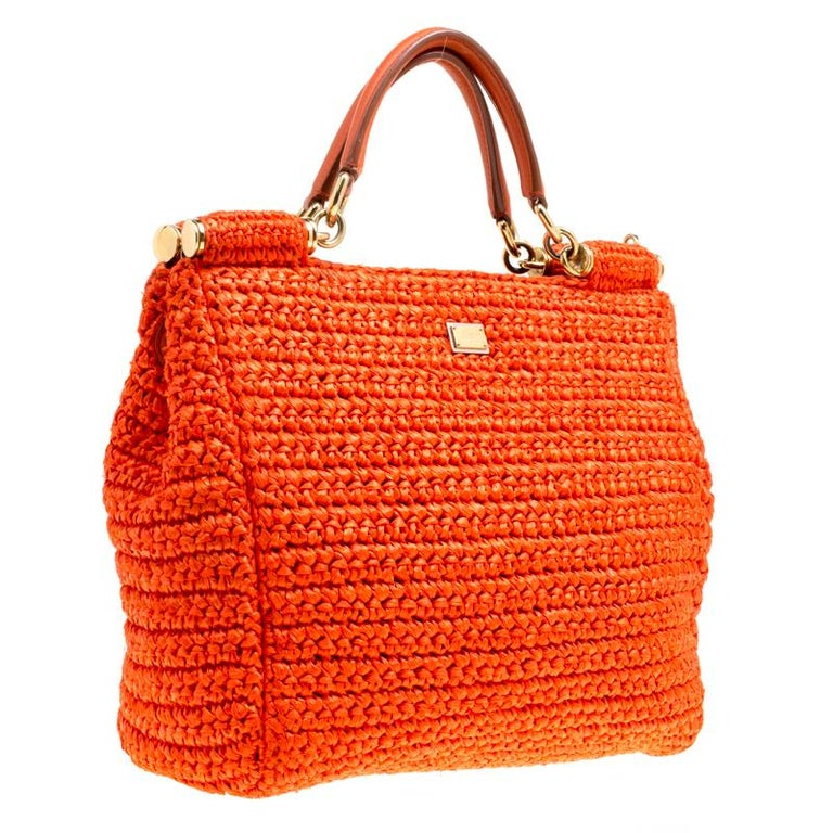 Women's Dolce and Gabbana Orange Raffia Miss Sicily Top Handle Bag For Sale