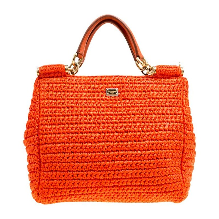 Dolce and Gabbana Orange Raffia Miss Sicily Top Handle Bag For Sale
