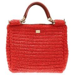 Dolce and Gabbana Orange Raffia Miss Sicily Top Handle Bag