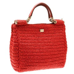 Dolce and Gabbana Orange Raffia Miss Sicily Top Handle Bag
