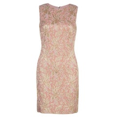 Dolce and Gabbana Peach Brocade Silk Dress S