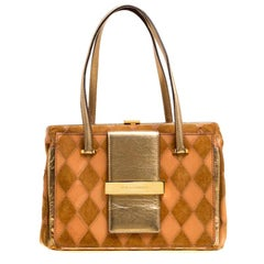 Dolce and Gabbana Peach/Gold Quilted Stitch Leather and Suede Frame Bag