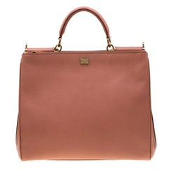 Dolce and Gabbana Peach Leather Large Miss Sicily Bag