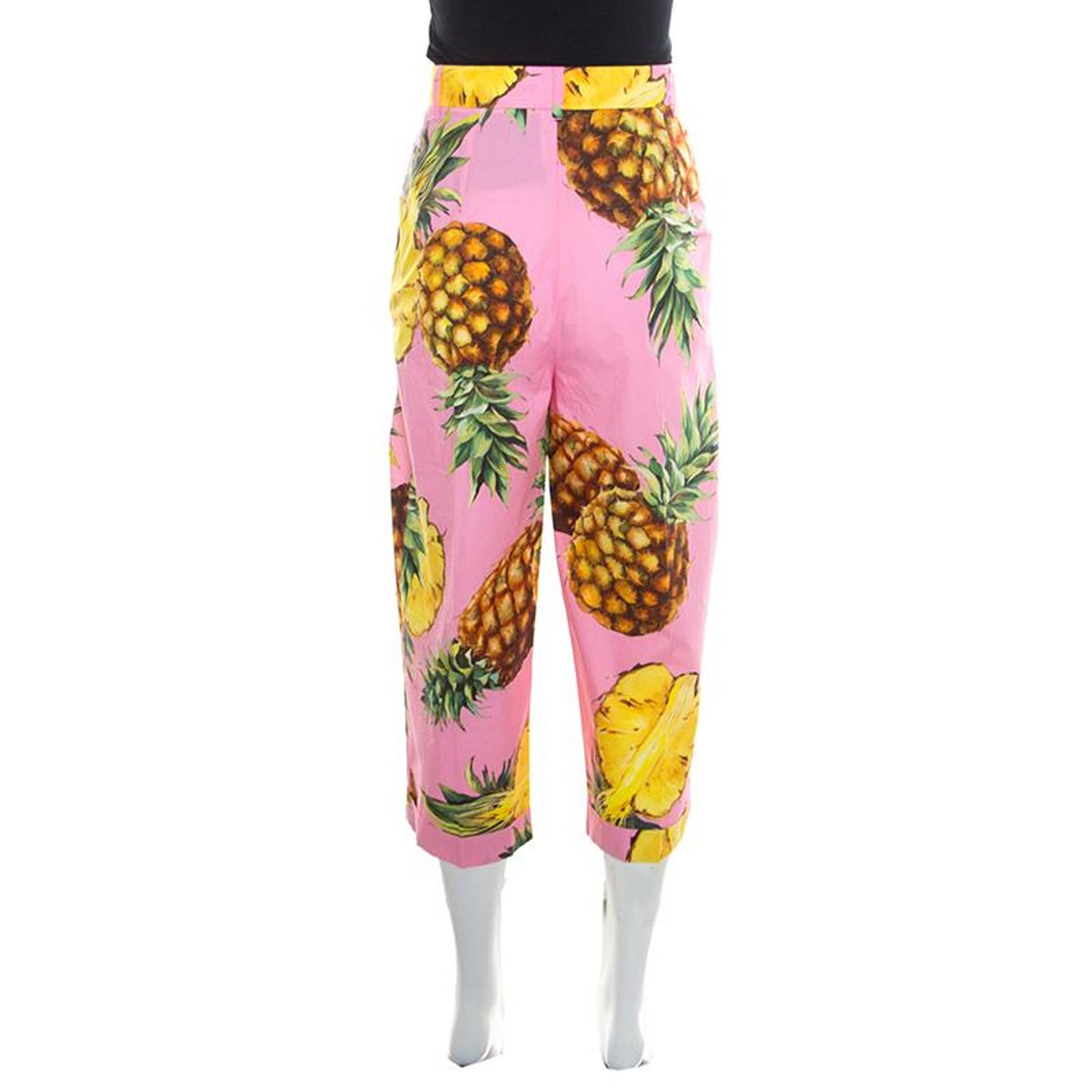 b789fcbcb984 Dolce and Gabbana Pineapple Printed Cotton High Waist Wide Leg Cropped Pants  M For Sale at 1stdibs