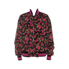 Dolce and Gabbana Pink Crepe Floral Print Oversized Bomber Jacket S