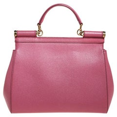 Dolce and Gabbana Pink Dauphine Leather Medium Miss Sicily Bag