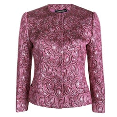 Dolce and Gabbana Pink Embossed Lurex Jacquard Boucle Jacket S