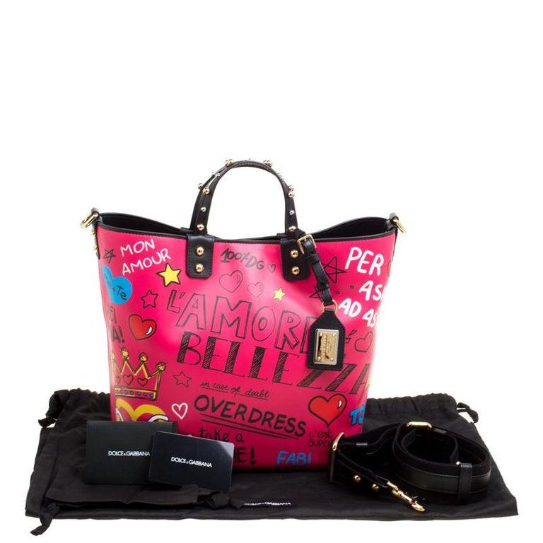 Dolce and Gabbana Pink Leather Beatrice Graffiti Shopper 7