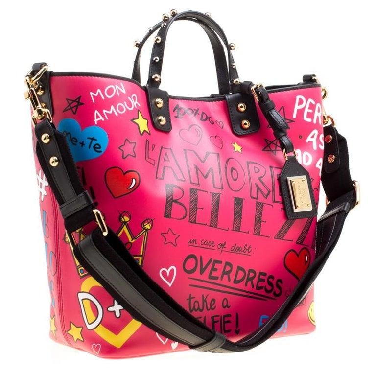 Women's Dolce and Gabbana Pink Leather Beatrice Graffiti Shopper
