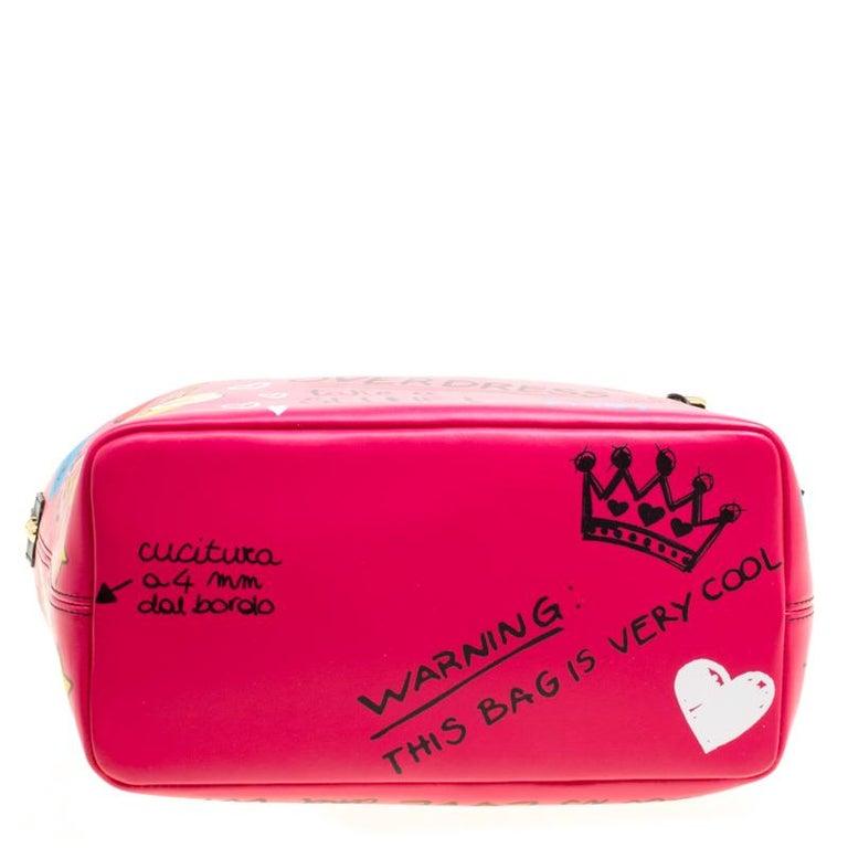 Dolce and Gabbana Pink Leather Beatrice Graffiti Shopper 2