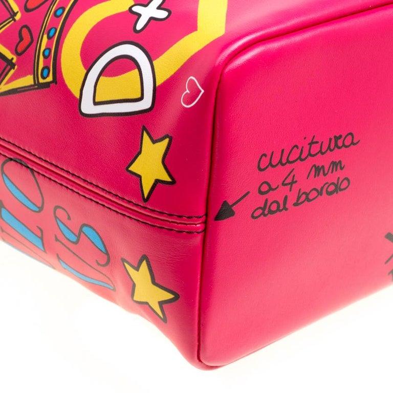 Dolce and Gabbana Pink Leather Beatrice Graffiti Shopper 3