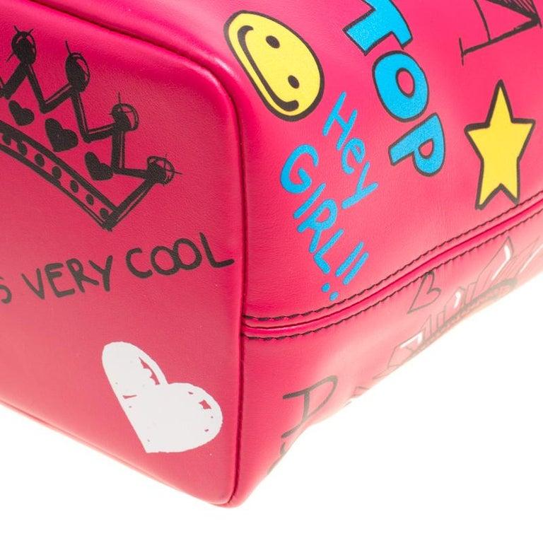 Dolce and Gabbana Pink Leather Beatrice Graffiti Shopper 4