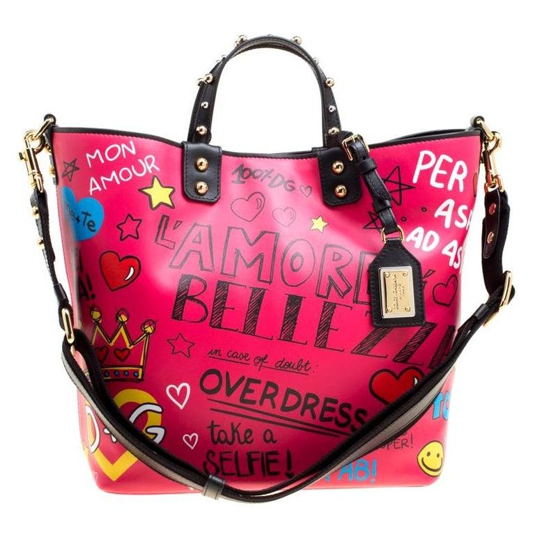 Dolce and Gabbana Pink Leather Beatrice Graffiti Shopper
