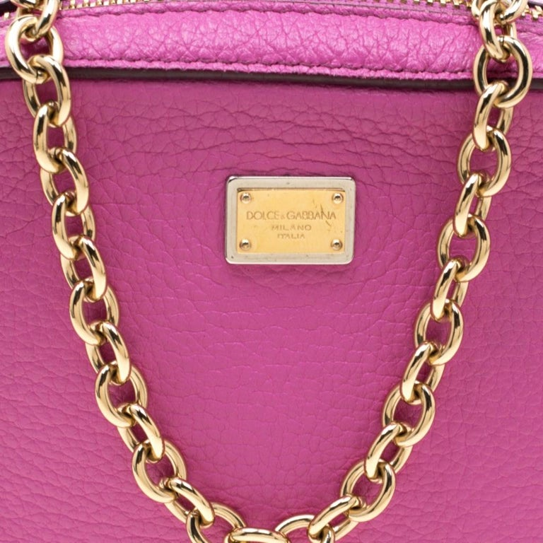 Dolce and Gabbana Pink Leather Crossbody Bag For Sale 6