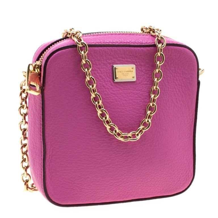 Women's Dolce and Gabbana Pink Leather Crossbody Bag For Sale